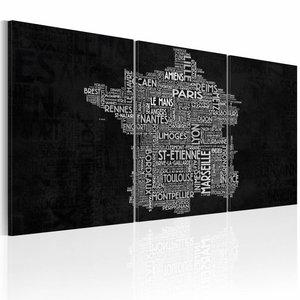 Schilderij - Van Montpelier naar St-Etienne, Zwart-Wit, 3luik