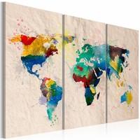 Schilderij - Wereldkaart - De Wereld van Kleuren, 3luik , premium print op canvas