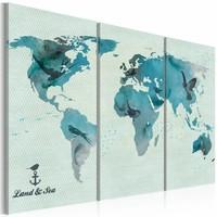 Schilderij -  Wereldkaart - Vogeltrek, Blauw, 3 luik