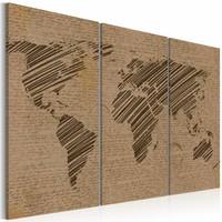 Schilderij - Wereldkaart - Berichten uit de wereld, Bruin, 3luik , premium print op canvas