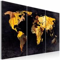 Schilderij - Als de wereld was een woestijn ... , Zwart/Goud, 2 Maten, 3 luik