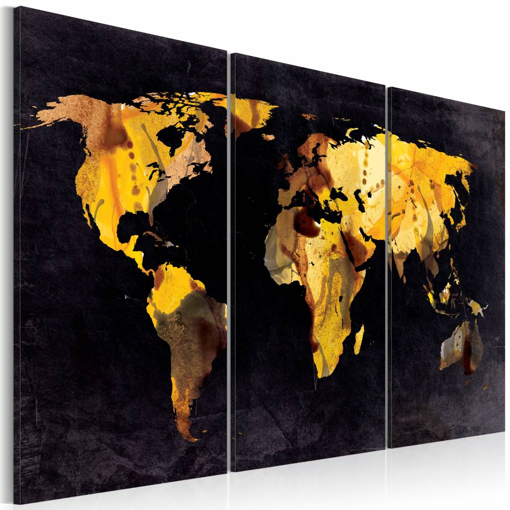 Schilderij - Wereldkaart - De Wereld als Woestijn, Zwart/Goud, 3luik , premium print op canvas
