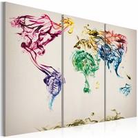Schilderij - De kaart van de wereld - gekleurde rook paden, Multi-gekleurd, 2 Mate, 3luik