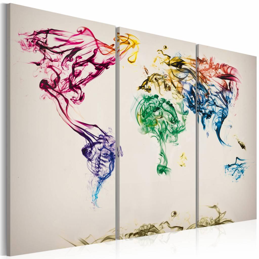 Schilderij - Wereldkaart - Gekleurde Rook, Multi-gekleurd, 3luik , premium print op canvas