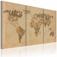 Schilderij - Oude kaart van de Wereld, Bruin/Beige, 2 Maten, 3luik