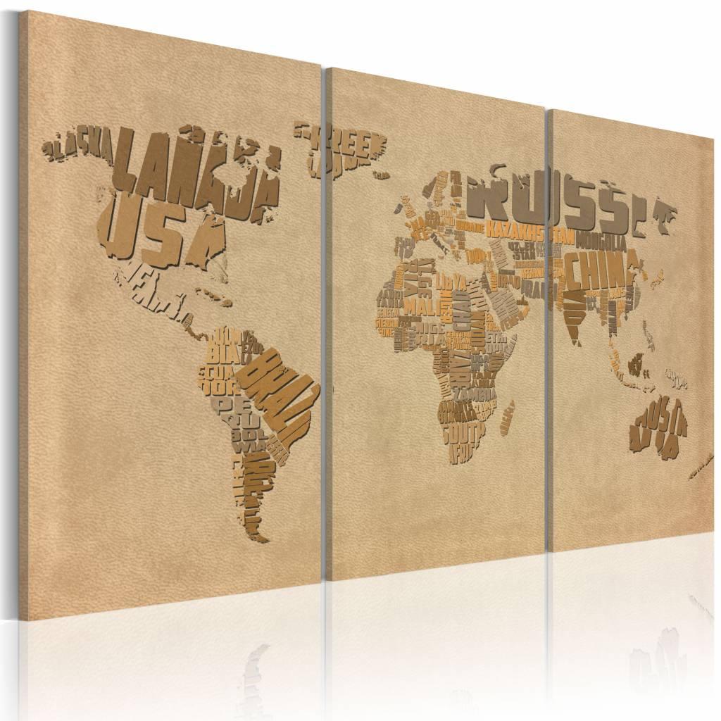 Schilderij - Oude kaart van de Wereld, Bruin/Beige, 2 Maten, 3luik , premium print op canvas