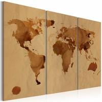 Schilderij - Wereldkaart - De Wereld beschilderd met koffie, Bruin, 3luik , premium print op canvas