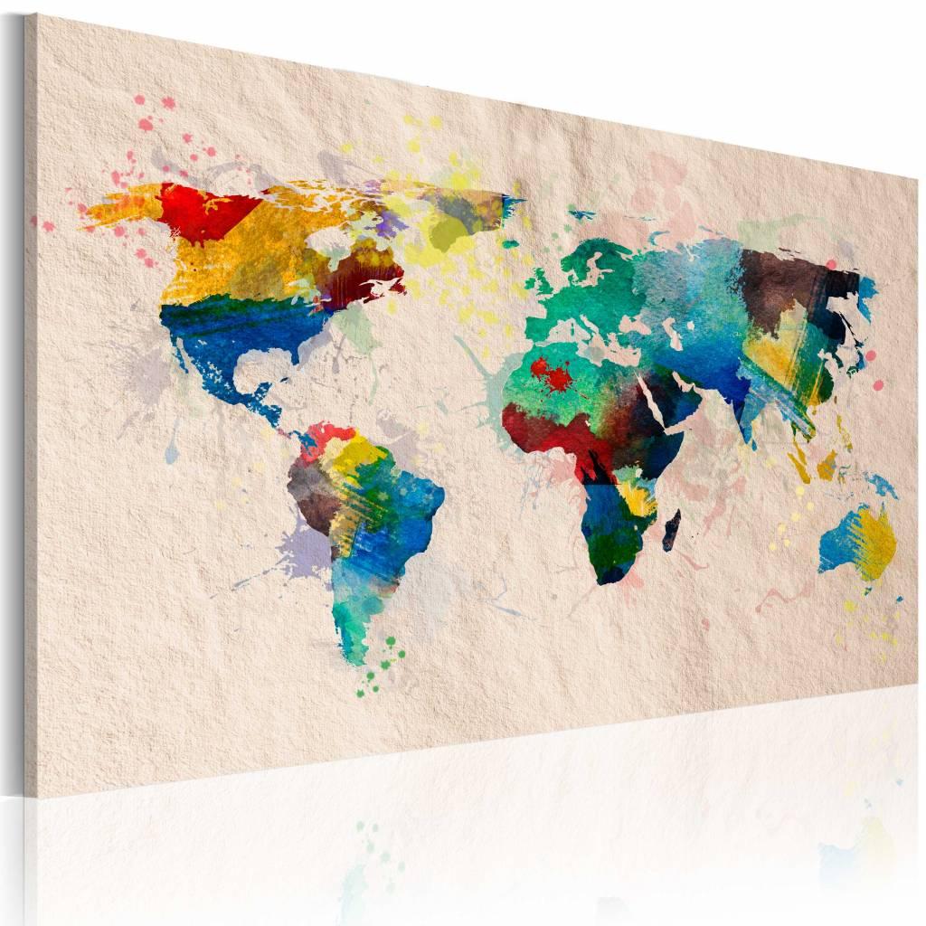 Schilderij - Wereldkaart - De wereld van kleuren, Multi-gekleurd , premium print op canvas