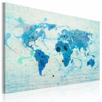 Schilderij - Wereldkaart - Landen en Oceanen, Blauw, 1luik