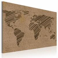 Schilderij - Wereldkaart - Opmerkingen van de Wereld, Bruin, 1luik