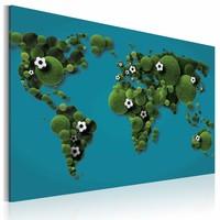 Schilderij - Wereldkaart - Continenten rond als een bal, Blauw/Groen, 1luik