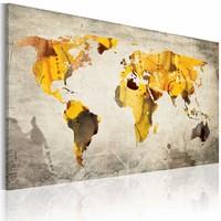 Schilderij - Zonnige continenten, Geel/Grijs, 2 Maten, 1 luik