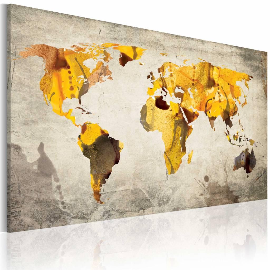 Schilderij - Wereldkaart - Zonnige Continenten, Geel/Grijs , premium print op canvas