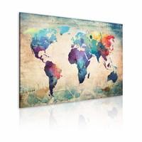 Schilderij - Wereldkaart - Regenboog Kaart, Multi-gekleurd, 1luik