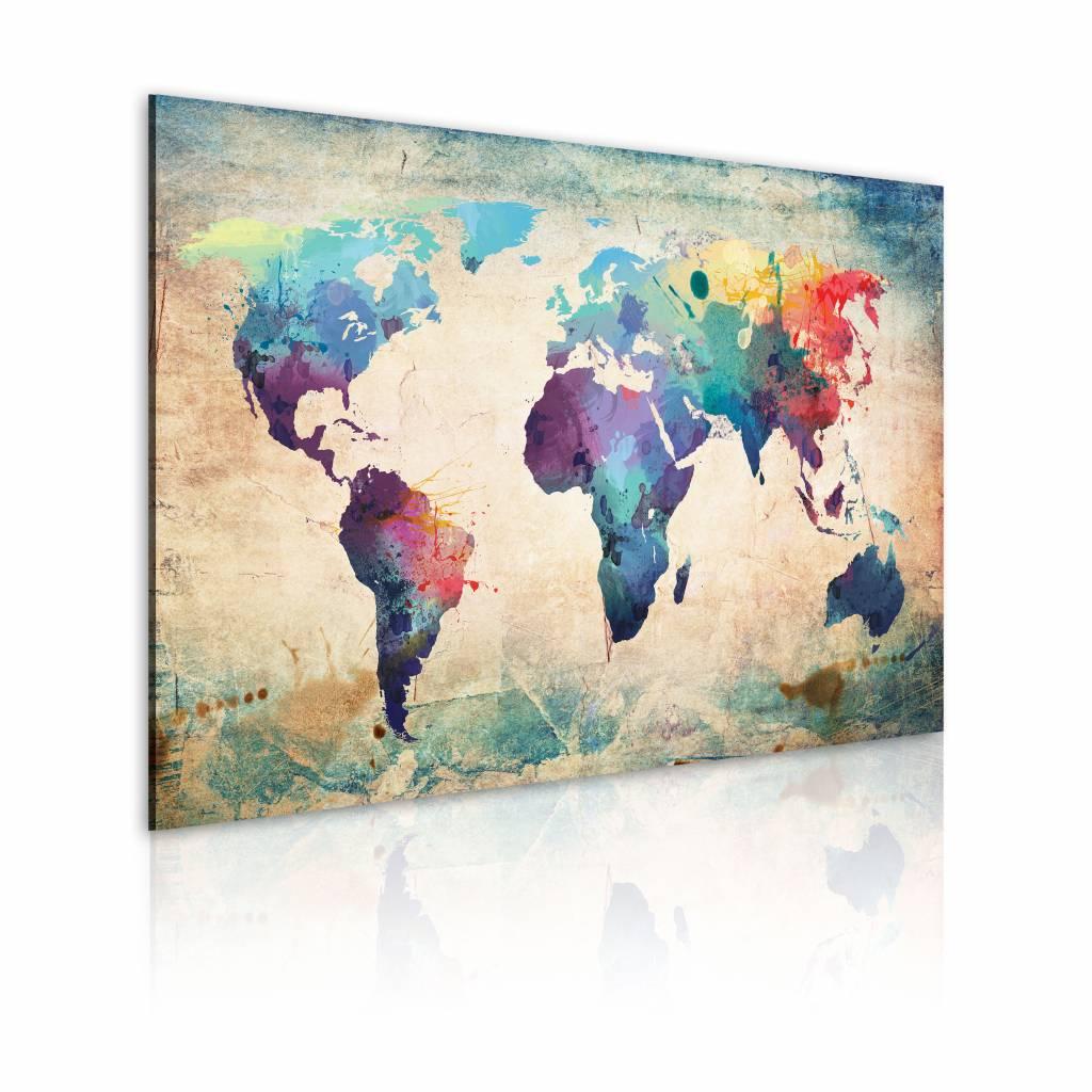 Schilderij - Wereldkaart - Regenboog Kaart, Multi-gekleurd , premium print op canvas