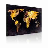 Schilderij - Wereldkaart - Als de wereld een woestijn was  , zwart bruin , premium print op canvas