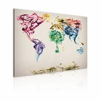 Schilderij - Wereldkaart - Gekleurde Rook , premium print op canvas