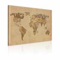 Schilderij - Wereldkaart - Oude kaart van de Wereld, Bruin , premium print op canvas