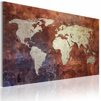 Schilderij - Roestige kaart van de Wereld, Roestige Look, 2 Maten, 1luik