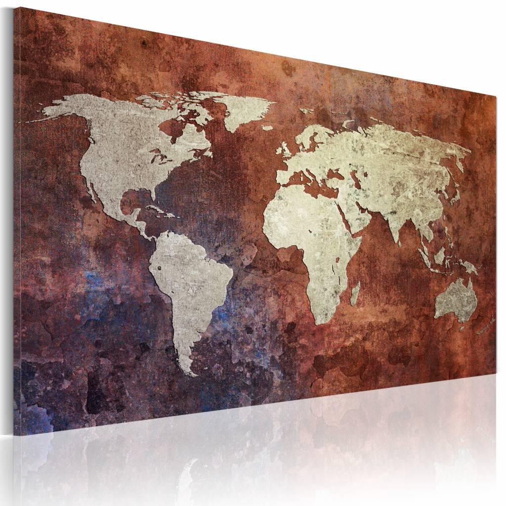 Schilderij - Wereldkaart - Roestige kaart van de Wereld, Roestige Look , premium print op canvas