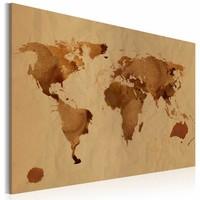 Schilderij - De Wereld beschilderd met koffie, Bruin, 2 Maten, 1luik