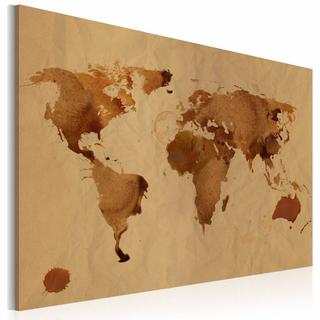 Schilderij - Wereldkaart - De Wereld beschilderd met koffie , premium print op canvas -  1 luik - 120x80 cm