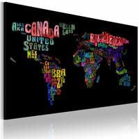 Schilderij - Wereldkaart - Namen van landen, Multi-gekleurd, 1luik
