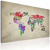 Schilderij - De kaart van de Wereld - Engels, multi-gekleurd, 2 Maten, 1 luik