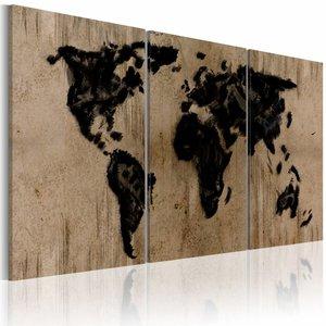 Schilderij - Wereldkaart - Op Hout Gebrand, Hout Look, Zwart/Bruin, 3luik