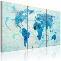 Schilderij - Wereldkaart - Continenten zoals Oceanen, Blauw,  3luik
