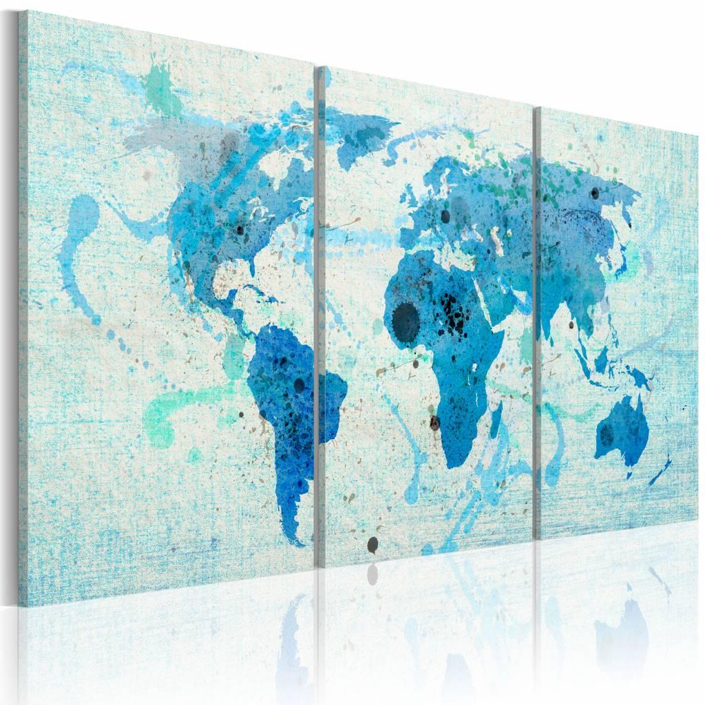 Schilderij - Wereldkaart - Continenten zoals Oceanen, Blauw, 3luik , premium print op canvas