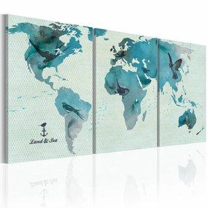 Schilderij - Wereldkaart - Ornithologische Kaart, Blauw, 3luik