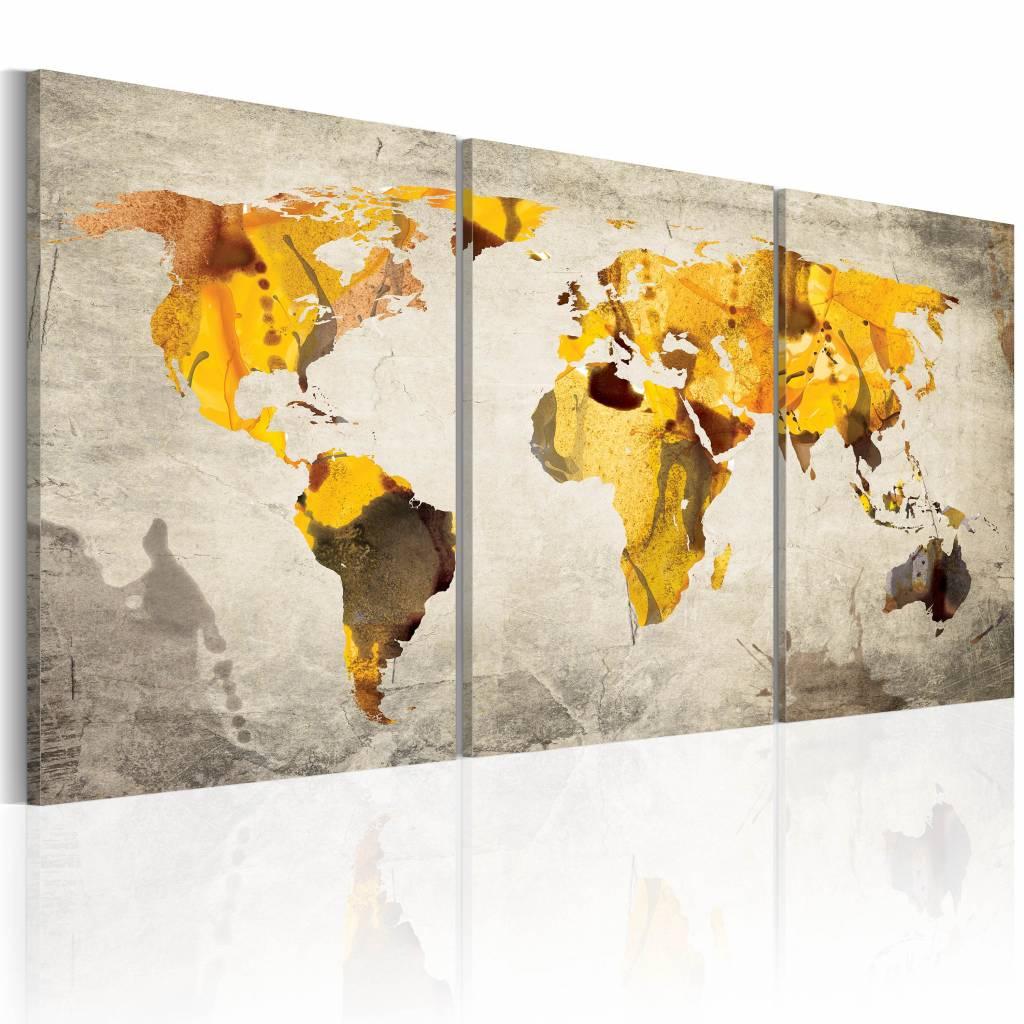 Schilderij - Wereldkaart - Gele continenten, 3luik , premium print op canvas - 120x60 cm