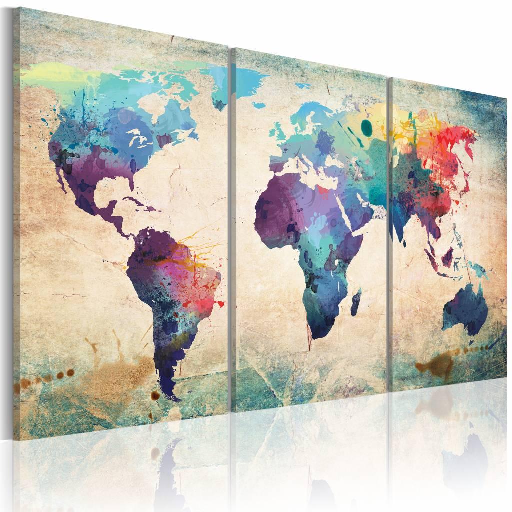 Schilderij - Wereldkaart - Geschilderd met Aquarellen, Multi-gekleurd, 3luik ,premium print op canvas - 120x60 cm