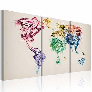 Schilderij - Wereldkaart - Gekleurde Rook, Multi-gekleurd, 3luik