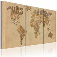 Schilderij - Wereldkaart - In Beige en Bruin, 3luik , premium print op canvas