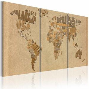 Schilderij - Wereldkaart - In Beige en Bruin, 3luik