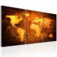 Schilderij - Wereldkaart - Aardrijkskundeles, Bruin/Goud, 3luik , 120x60 premium print op canvas