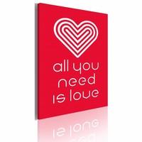 Schilderij - All you need is love 50X70cm, rood, 1 deel