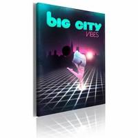 Schilderij - Big city vibes 50X70cm, zwart/paars, 1 deel