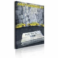 Canvas Schilderij - Metropolis news 60x40cm, 1 deel, zwart/geel