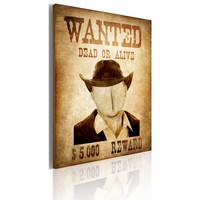 Schilderij - Wanted 50x70cm, 1 deel, bruin