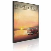 Schilderij - California beaches 60x40cm, geel/rood, 1 deel