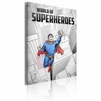 Schilderij - World of superheroes, Superman 50x70cm, 1 deel, blauw/zwart/wit