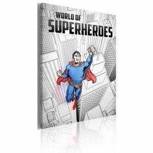 Schilderij - World of Superheroes - Superman, Blauw/Zwart/Wit, 1luik, 50x70cm