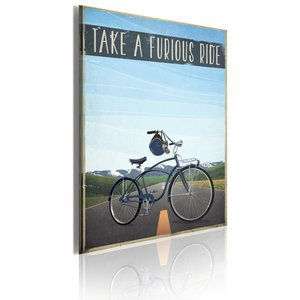Schilderij - Take a Furious Ride, Blauw, 1luik, 50x70cm