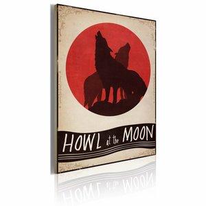 Schilderij - Midnight wolves 50x70cm, 1 deel, rood/beige/zart