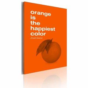 Schilderij - Orange is the happiest color (Frank Sinatra), Oranje, 1luik, 50x70cm