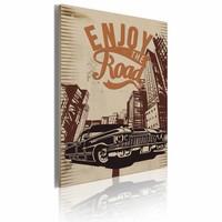 Schilderij - Enjoy the road, Beige/Bruin, 1luik, 50X70cm