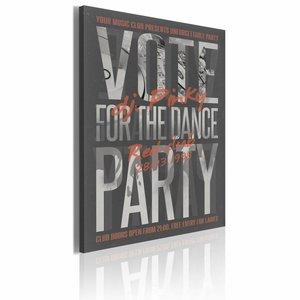 Schilderij - Vote for the dance party! Zwart/Wit/Rood, 1luik, 50x70cm